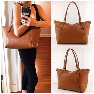 Coach Saddle Brown Pebble Leather Ava Tote Bag